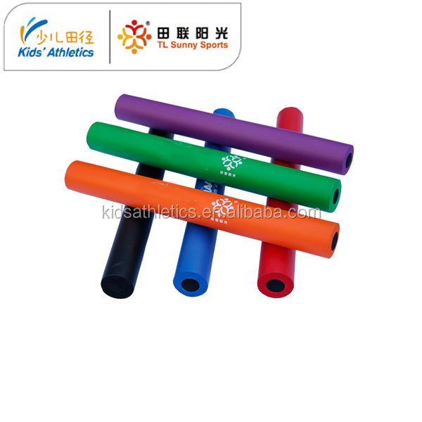 6 colored foam relay batons in kids atheltics kit