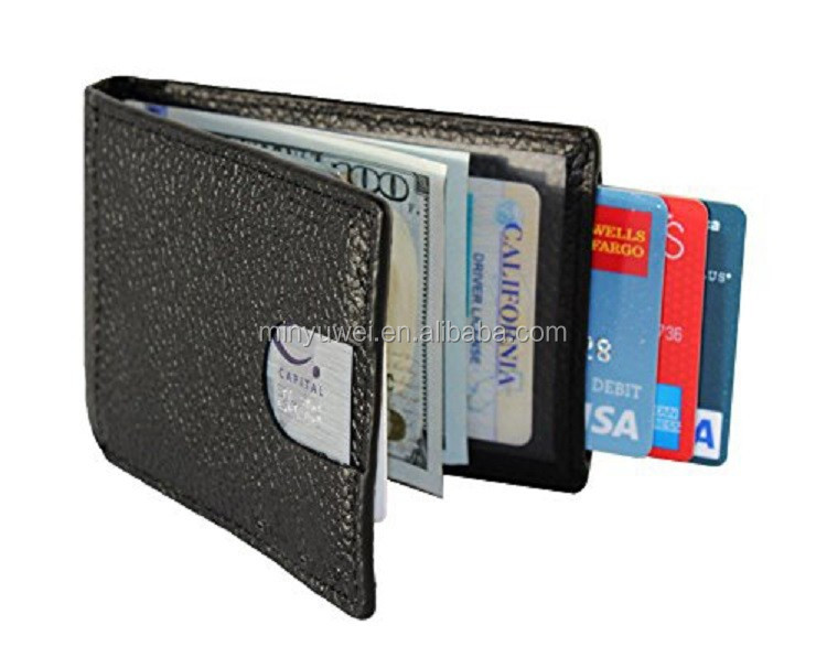 Custom Slim Mens Leather wallet money clip with a pull-tab RFID blocking Hot Selling