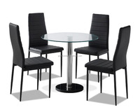 Modern Round Clear Glass Dinning Table Set With 4 Black Faux Leather Chairs
