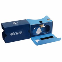 2017 Hot VR headset Box 3d vr glasses custom google cardboard virtual reality lens for blue film and game