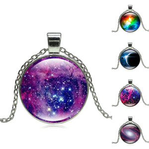 resin zodiac signs necklace Galaxy Stars zodiac Solar Eclipse jewelry