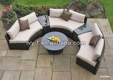 hotel garden wicker half-moon shape sectional sofa with side table/semi-circle sectional sofa/terrace sofa set price