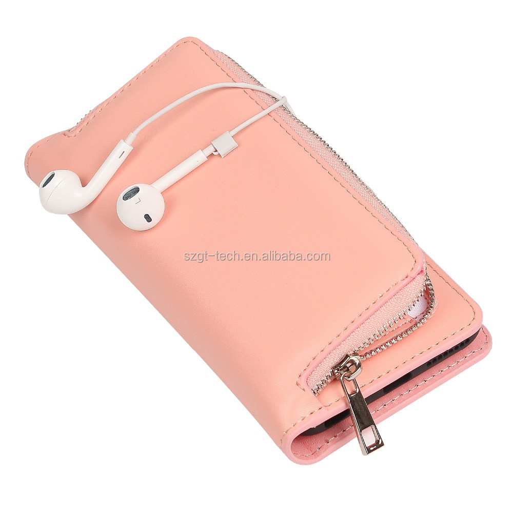 Newest Plain zipper flip Leather stand case for iphone 7 factory wholesale