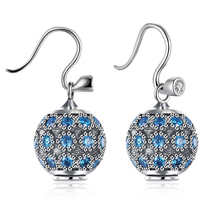 Fashion Zircon Blue Crystal Ball Drop Earrings for Women Anniversary Gifts 925 Sterling Silver Earrings Boucle Femme Brinco