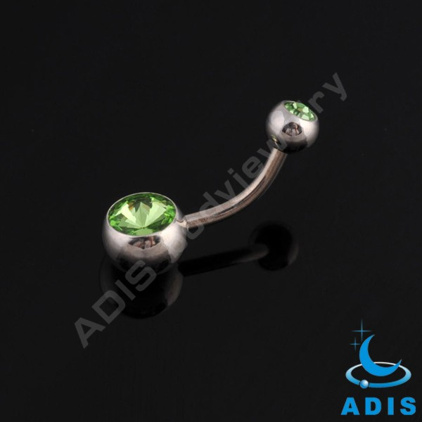 Fress sample stainless steel double jeweled belly button ring wholesale