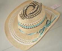 Wholesale folding bulk straw cowboy hats in summer floppy