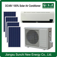 working 10hours, 18 hours SUNCHI 100% solar air conditioner DC48V off grid 12000BTU