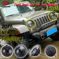 New product 7 inch automobile led headlight with angel eyes for jeep wrangler