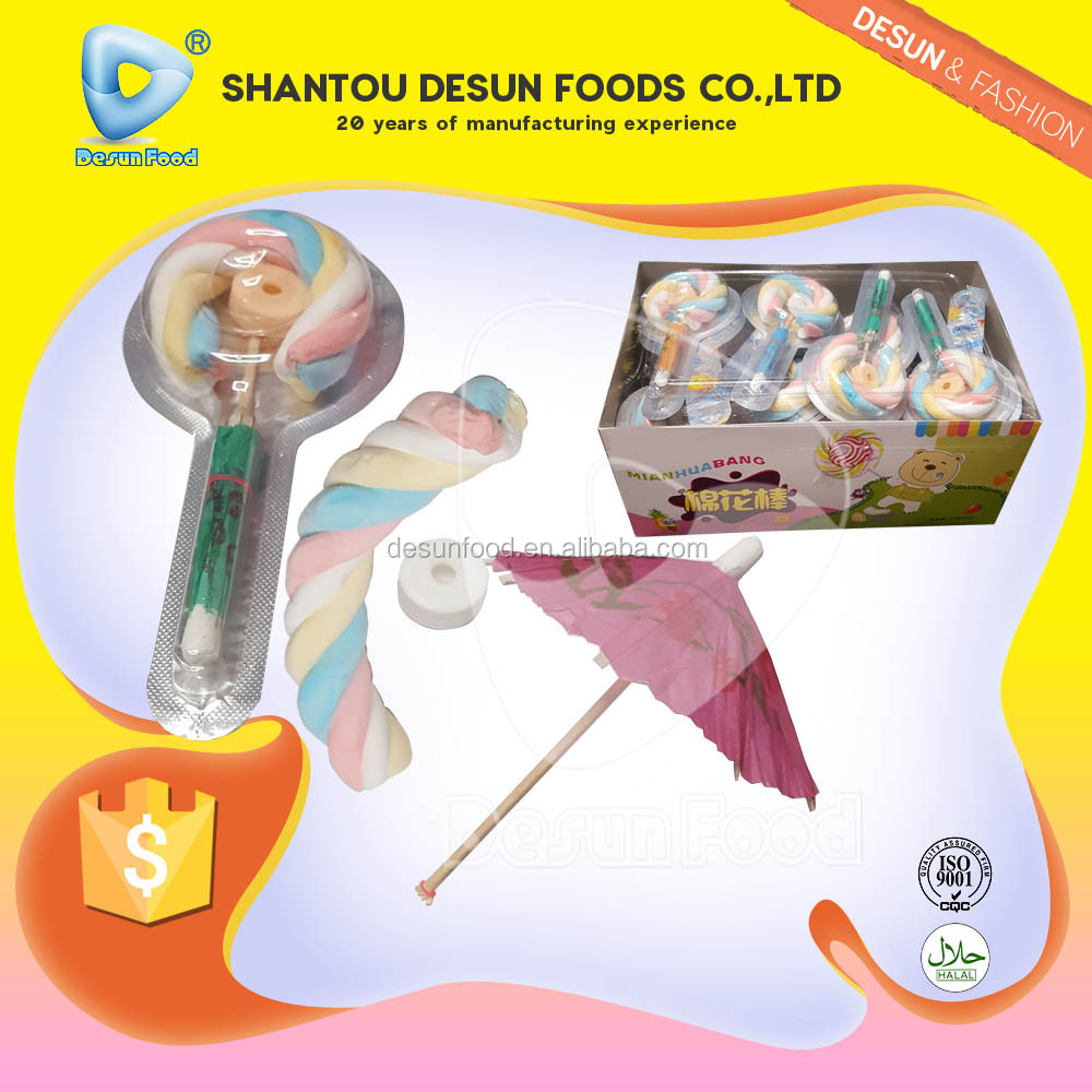 2016 new item marshmallow pop with roll candy with toy umbrella