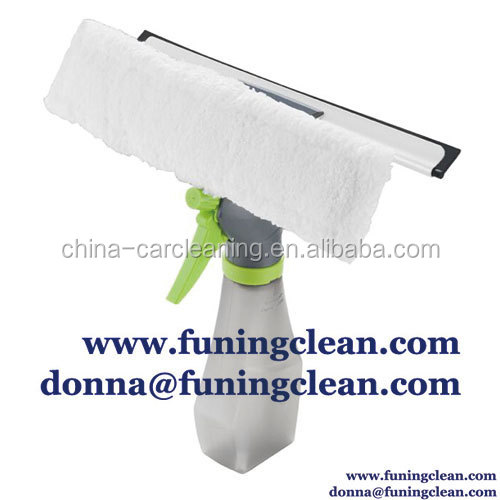 3 in 1 window squeegee with microfiber and spray,muli-function window wiper, glass cleaner