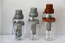 wholesale 650ml high borosilicate double wall glass water/tea bottle with infuse