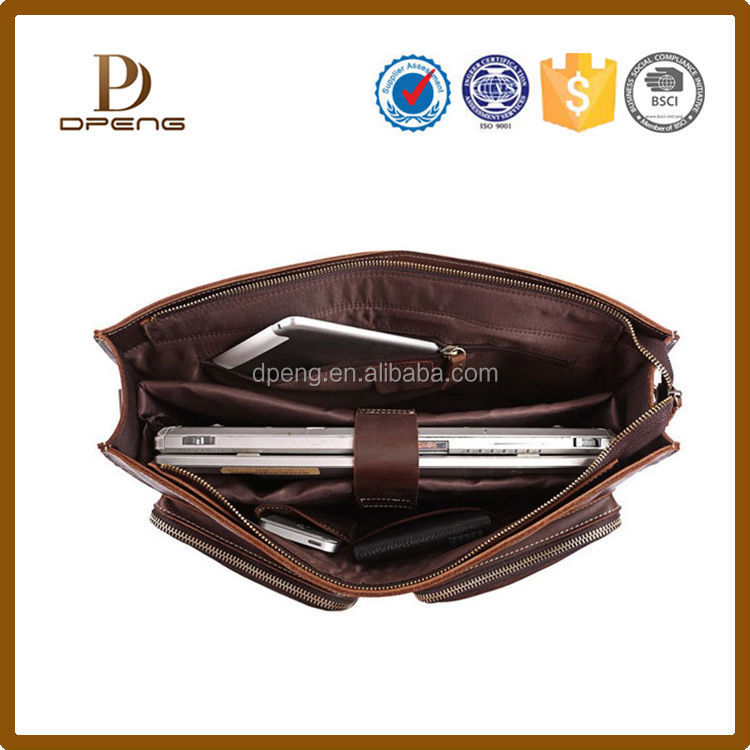 Hot sale Genuine Leather vintage mens laptop messenger bag
