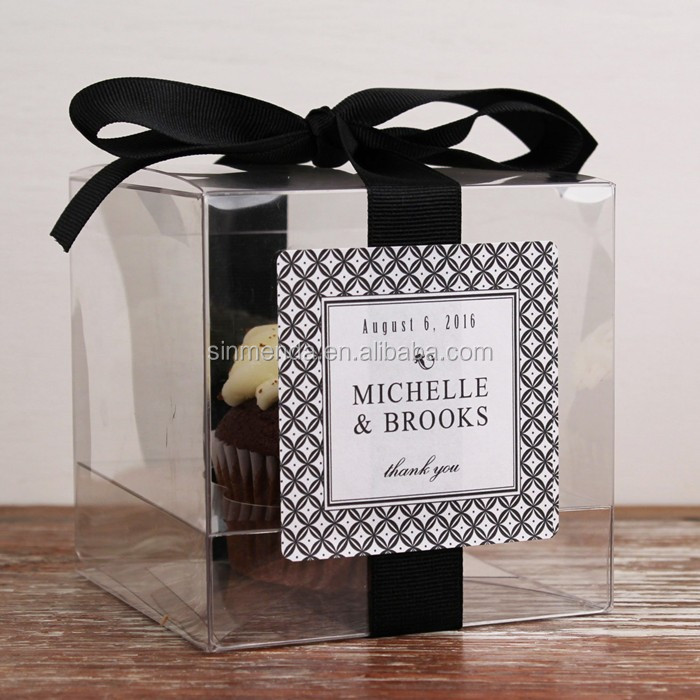 Fashion Clear Favor Box Wedding Pvc Pet Plastic Folding Gift Box