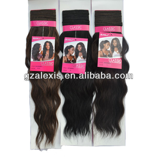 "5A Noble Classic Indian Wave Synthetic Hair Weaving 100% High Temperarture fiber hair 22"" 110g/pc"