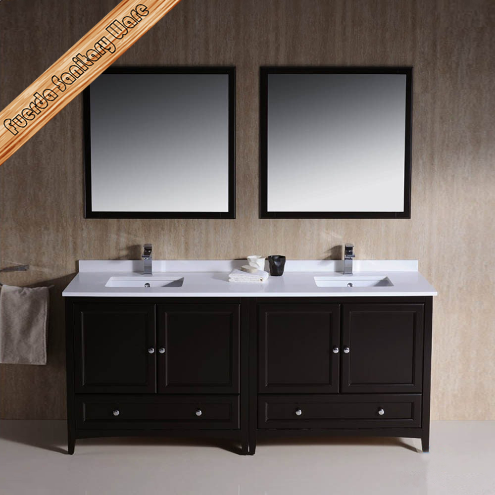 Double Sink Wash Basin Vanity Mirrored Bathroom Cabinet - Buy Bathroom ...