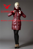 Windproof Quilted Down Jackets Women Shiny Slim Ladies Coats Winter Long style Sexy red wine color Size M-3XXL C-14W103