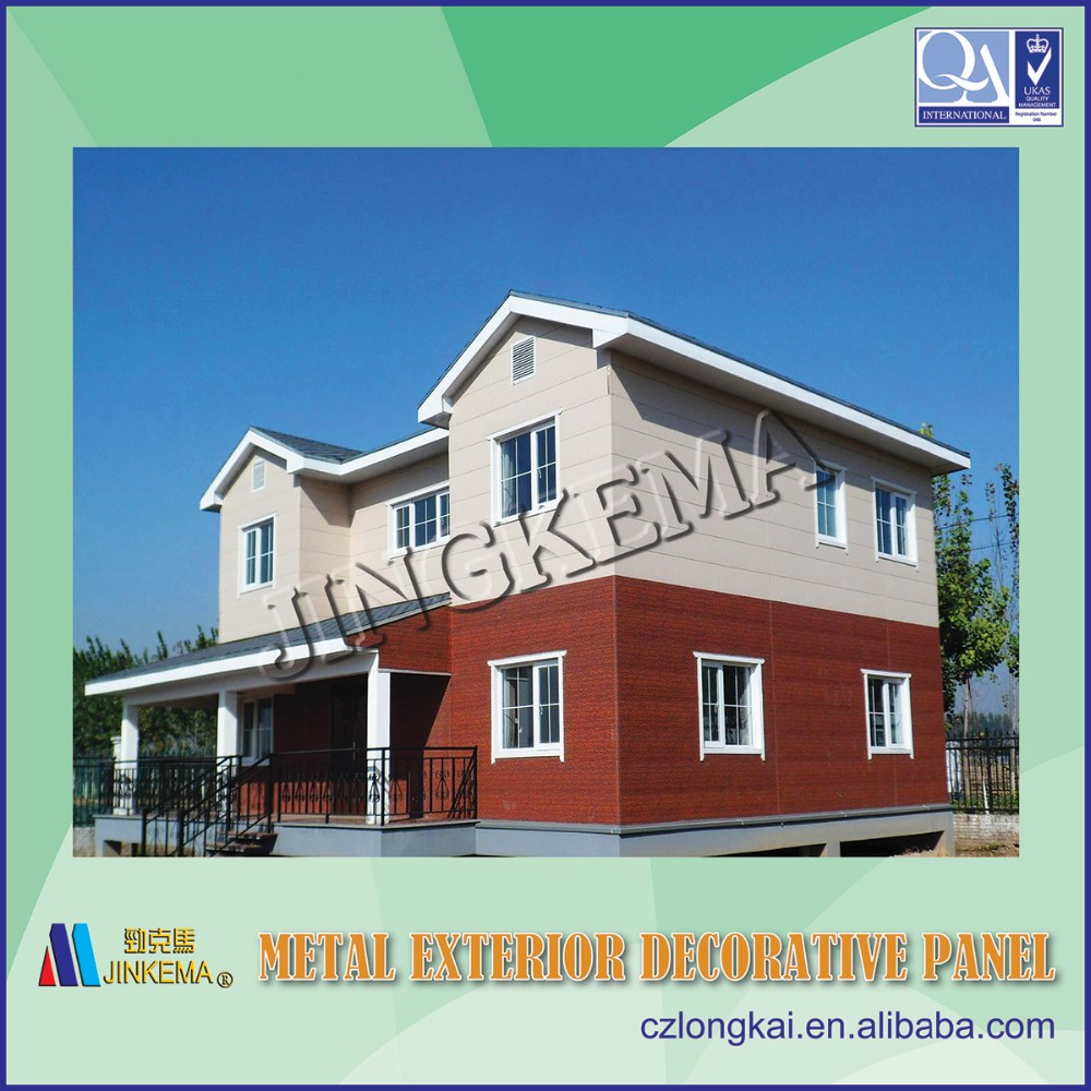 Decorative exterior metal siding panel used for steel structure prefabricated houses, buildings, villas