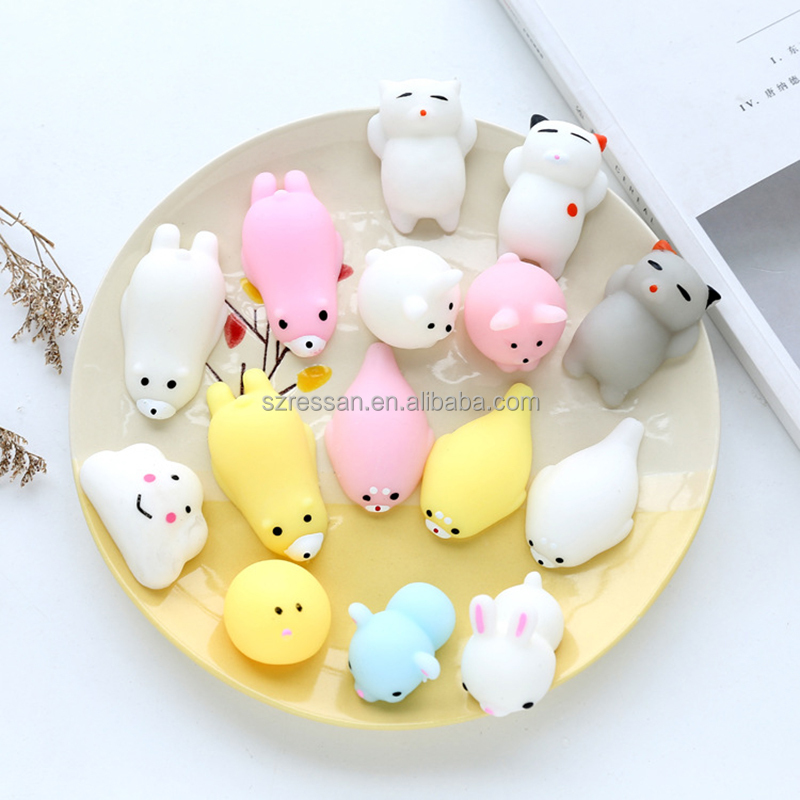 New Design Eco-friendly Mini Animal Squishy Toys 3D Kawaii Animals Soft Mochi Squeeze Squishy Cat Toys