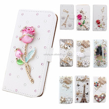 Wallet Phone Case Book Style Pouch Cover Fashion Lady Diamond Rhinestone Bling Leather Flip Stand Card Cover Case