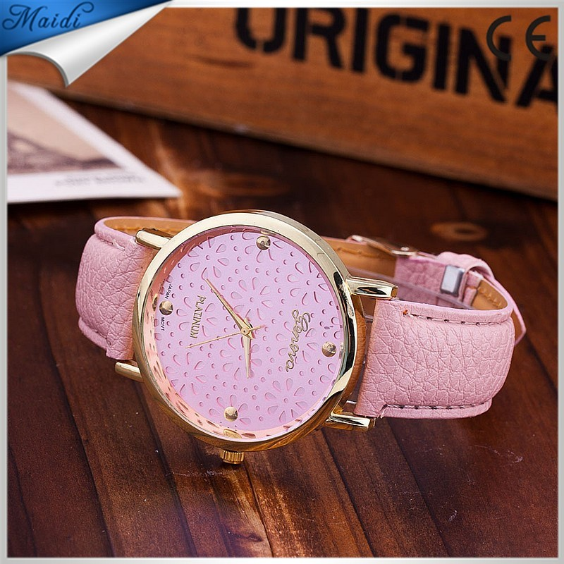 Geneva Fashion Women Leather Strap Ladies Quartz Watches relogio feminino GW032