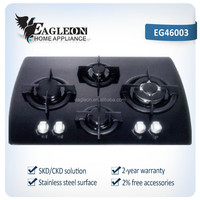 EG46003 CE 60cm temper glass built-in gas stove hob/ gas range/ gas fire/ gas oven/ cooktop/ range master/ 4 Sabaf burners