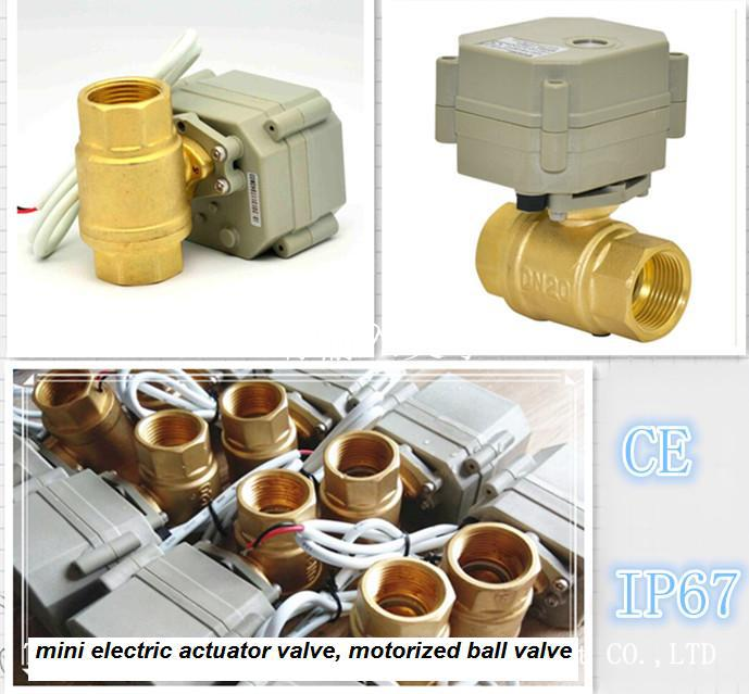2-way brass electric power motorized ball valve with manual override