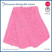 New Design Custom Made 55% Acrylic/45% Cotton Thick Fall Winter Warm Adult Female Women Teen Girl Pink Crochet Cable Knit Scarf