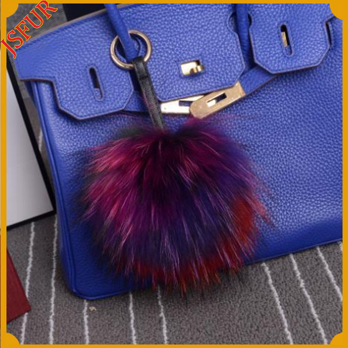 2016 Fur Ball Keyrings Bag Charm Raccoon Fur Pom Pom Keychain