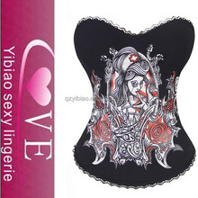Wholesale Latex In Stock Black Satin Bloody Mary Printed Sexy Corset