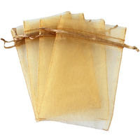 "Gold 4x6"" 10x15cm Drawstring Organza Pouch Strong Wedding Favor Gift Candy Bag (Pack of 100pcs)"