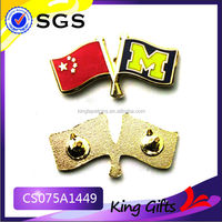Chinese custom made flag metal pin badge collar pin