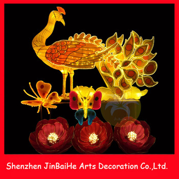 LED Lighted Silk Cloth Peacock Traditional Festive Lanterns for Mid Autumn New Year