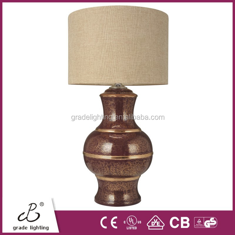 2015 Modern Hotel Table Lamp Fabric Table Light with Ceramic Base Beside Led Table Lamp