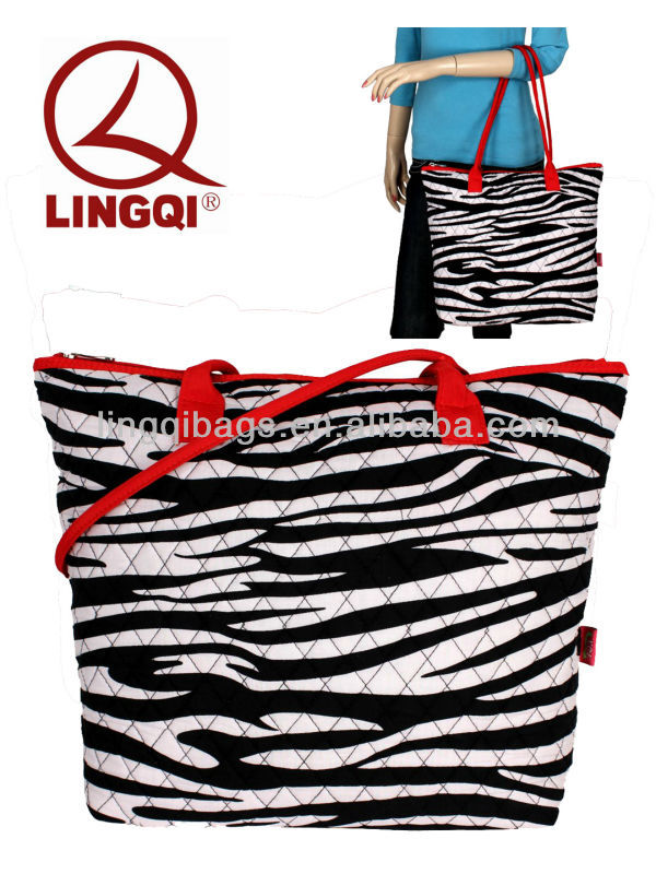 Quilted Girls Zebra Shoulder Bags with Red Trim