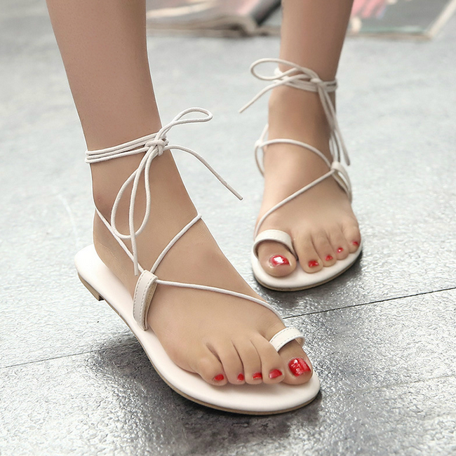 SAA3484 Summer new design flat heel lace up lady gladiator sandals