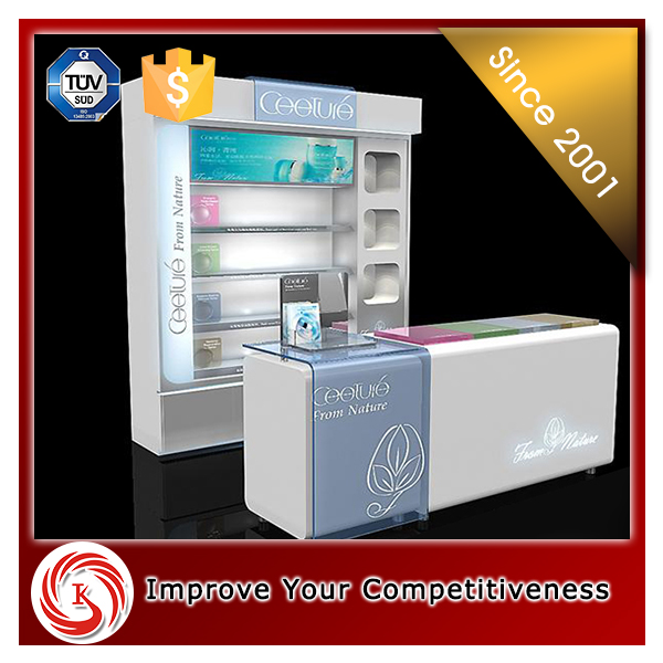 Hot sale customized counter desktop cosmetic cabinet and showcase makeup organizer