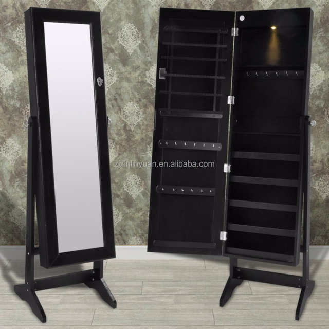 jewelry holder armoire chest standing with full length mirror