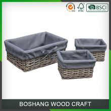 Cheap Fancy Flat Bamboo Gray Wicker Basket