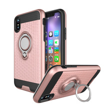 3D texture PC+TPU hybrid combo ring holder 360 rotation case for iphone 8 case snap on