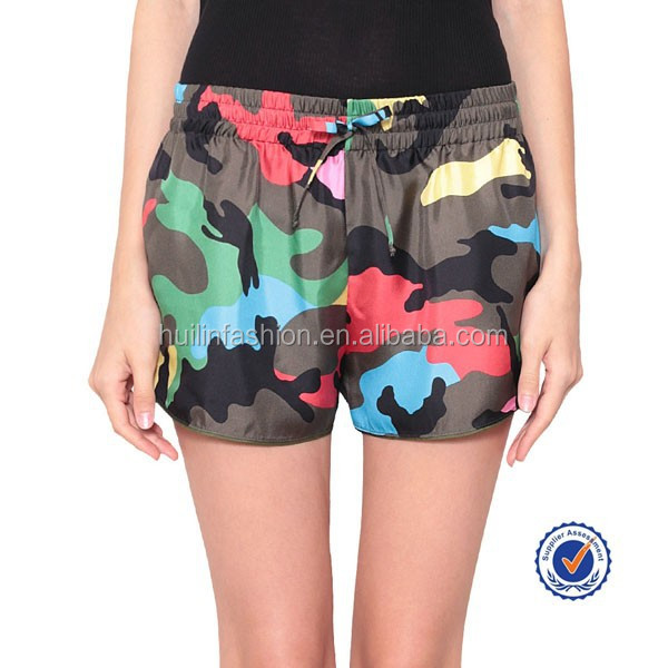alibaba china wholesale women military camouflage shorts with a tie