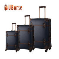 Vintage Leather 3pcs Set Travel Luggage