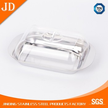 Mini butter dish with base and cover clear lids