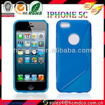 for new iPhone 5C ultra thin case TPU with logo hole design
