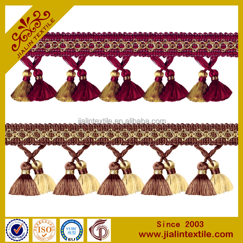 hot sale curtain and lampshade cotton curtain tassel fringe lace