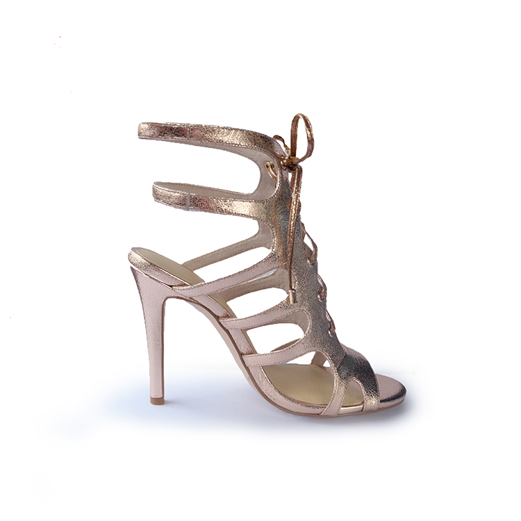 K12-2 rose gold high heel lace up latest ladies sandals designs