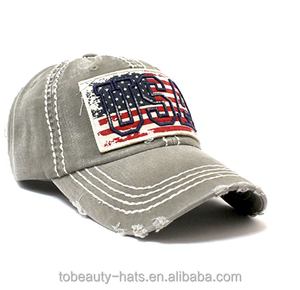 Customize logo Flag Patch Baseball Cap USA Stitch Embroidery Overlay with low profit