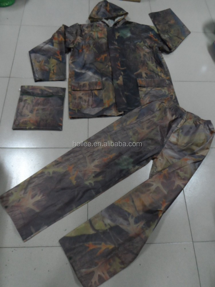 camouflage raincoat pants 190T Polyester/pvc