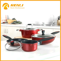 Stocklot Good Quality Stainless Steel Kitchenware cooking Sets with marble coating, Cookware pot set