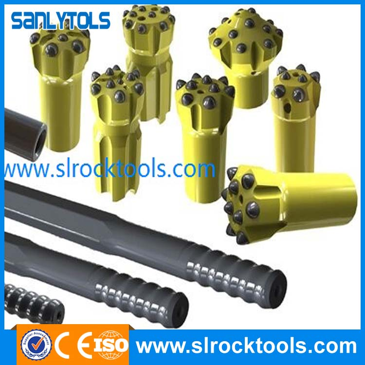 Taper rock drill rod for tunneling and drifting