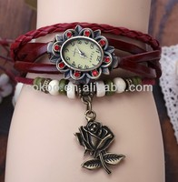 2014 High Quality Women's Woman Lady Girls Leather Vintage Style Jewelry Bracelet Gifts Quartz Wrist Watches Butterfly Pendan